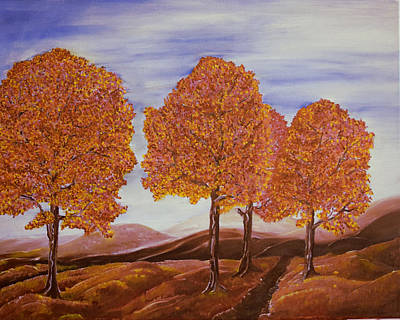 Landscape Painting - Fall Trees by Outside the door By Patt