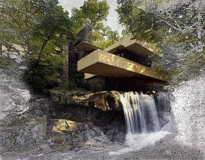 Digital Art - Fallingwater Architecture Drawing by Louis Ferreira