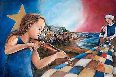 Acadian Painting - Famille Acadienne by Patsy Cormier