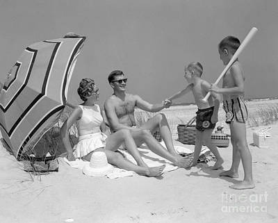 Family At The Beach, C.1960s Print by H. Armstrong Roberts/ClassicStock