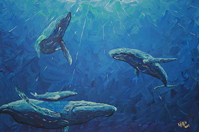Humpback Whale Painting - Family by Nick Flavin