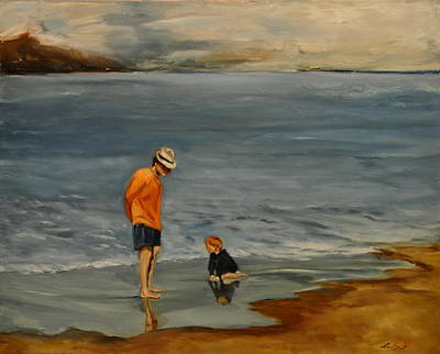 Painting - Family On Beach by Lindsay Frost