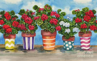 Planting Flowers Painting - Fancy Pots Geraniums by Paul Brent
