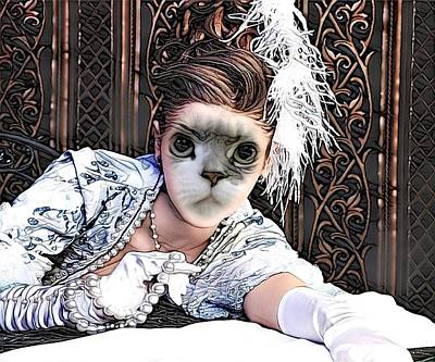 Cabochon Digital Art - Fantasy Cat Art 20 by Artful Oasis