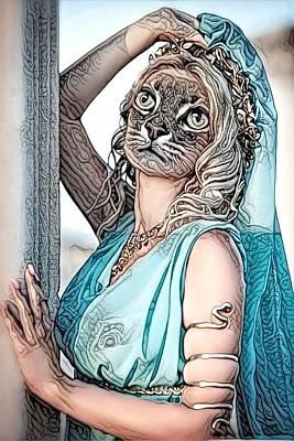 Cabochon Digital Art - Fantasy Cat Art 5 by Artful Oasis