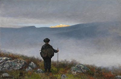 Shimmering Painting - Far, Far Away Soria Moria Palace Shimmered Like Gold by Theodor Kittelsen