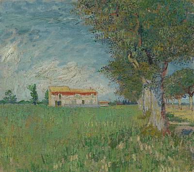 1890 Houses Painting - Farmhouse In A Wheatfield Arles by MotionAge Designs