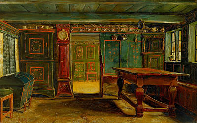 Danish Painting - Farmhouse Room Near Store Heddinge by Christen Dalsgaard