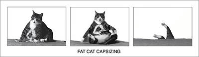 Fat Cat Capsizing Print by Richard Watherwax
