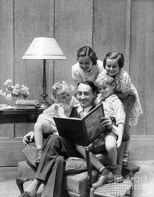 Father Reading To Family, C.1930s Art Print
