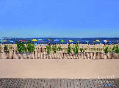 Sand Fences Painting - Favorite Beach by Elisabeth Olver