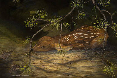 Painting - Fawn In Forest by Roy Kastning