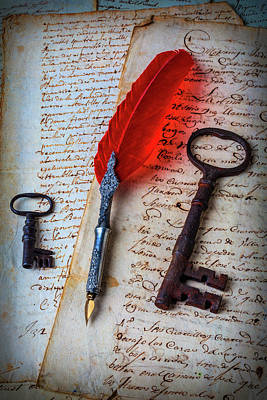 Feather Pen And Old Keys Art Print by Garry Gay