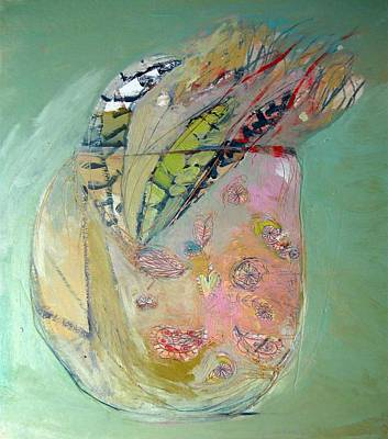 Still Life With Flowers Mixed Media - Feathers by Brooke Wandall