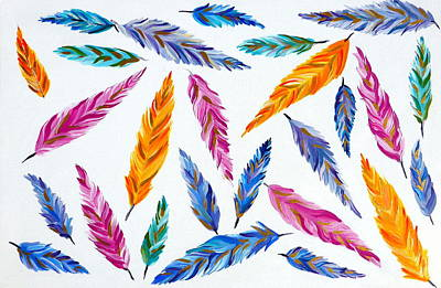 Pretty Quilts Painting - Feathers by Cathy Jacobs