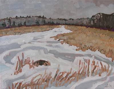 Swamp Oil Painting - February Ice by Phil Chadwick