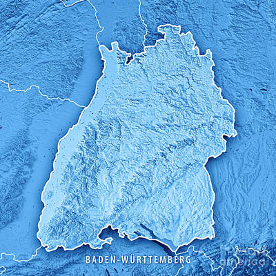 Digital Art - Federal State Of Baden-wurttemberg Germany 3d Render Topographi by Frank Ramspott