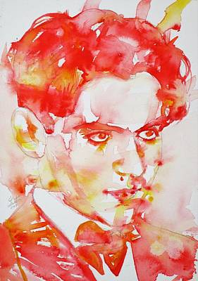 Art Print featuring the painting Federico Garcia Lorca - Watercolor Portrait by Fabrizio Cassetta