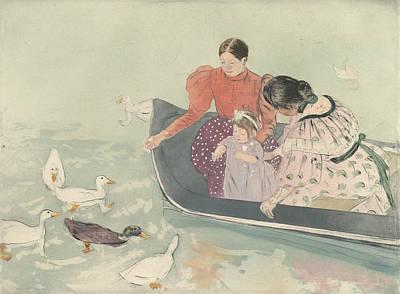 Relief - Feeding The Ducks by Mary Cassatt