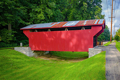 Photograph - Feedwire Covered Bridge - Carillon Park Dayton Ohio by Jack R Perry