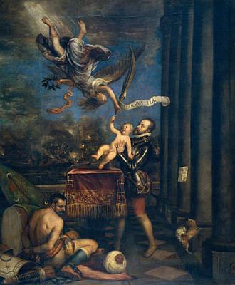 Noble Painting - Felipe II Offers The Infante Don Fernando To Heaven by Titian