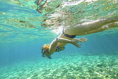 Photograph - Female Apnea Underwater by Benny Marty