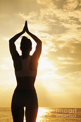 Female Doing Yoga At Sunset Art Print