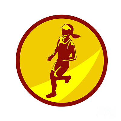 Jogging Digital Art - Female Marathon Runner Circle Retro by Aloysius Patrimonio