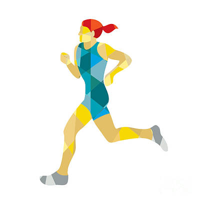 Jogging Digital Art - Female Triathlete Marathon Runner Low Polygon by Aloysius Patrimonio