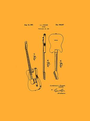 Telecaster Drawing - Fender 1951 Electric Guitar Patent Art - B  by Barry Jones