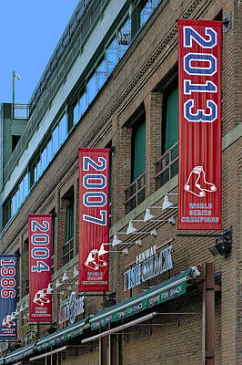 Fenway Park Photograph - Fenway Boston Red Sox Champions Banners by Susan Candelario