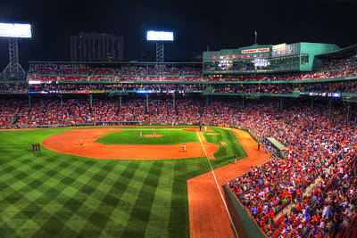 Stadium Scene Photograph - Fenway Park At Night - Boston by Joann Vitali