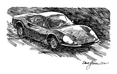 Sport Car Drawing - Ferrari Dino by David Lloyd Glover