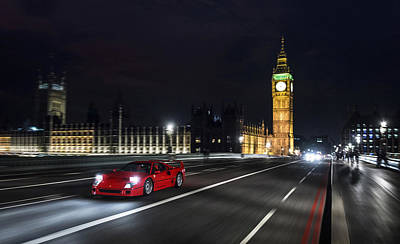 Ferrari F40 London Art Print