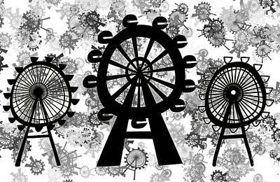 London Eye Digital Art - Ferris Wheel - London Eye by Michal Boubin
