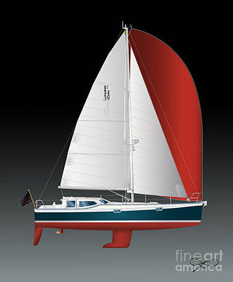 Drawing - Fh 39 Sailboat by Regina Marie Gallant