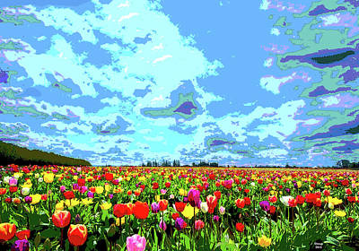 Mixed Media - Field Of Tulips by Charles Shoup