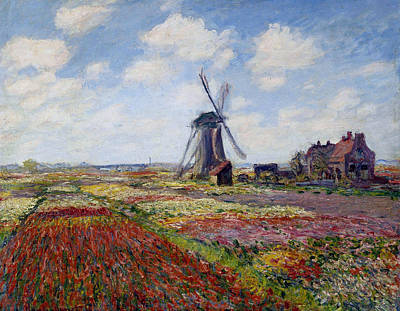 Farmland Painting - Field Of Tulips In Holland by Claude Monet
