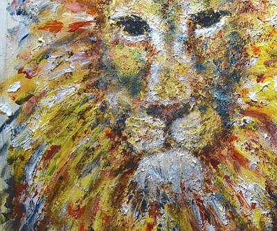 Lion And The Lamb Painting - Courageous  by DoraMichele Ferguson