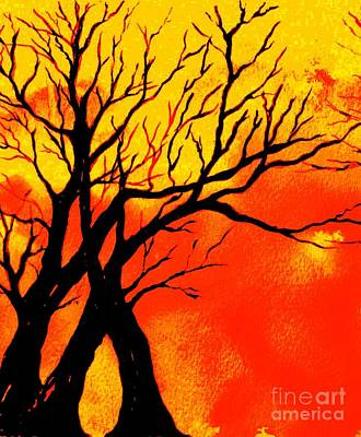Painting - Fiery Sunset by Hazel Holland
