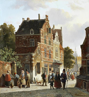 Charming Town Painting - Figures In A Busy Street by Adrianus Eversen