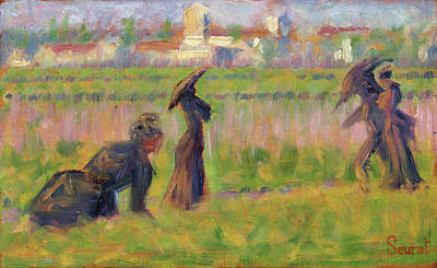Figures In A Landscape Art Print by Georges Seurat