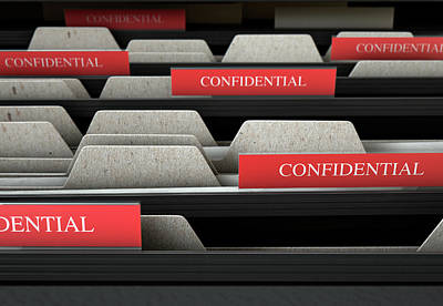 Filing Cabinet Drawer Open Confidential Print by Allan Swart