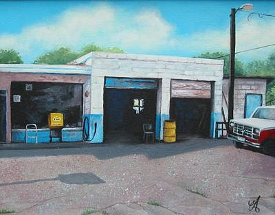 Service Station Painting - Filler-up by Carrie Auwaerter