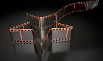 35mm Digital Art - Film Strip Shooting Star Curled by Allan Swart