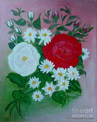 Fine, Free Folk Art Roses Original by Anna Folkartanna Maciejewska-Dyba