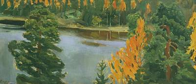 Lake Painting - Finnish Lake View In Autumn by Akseli Gallen