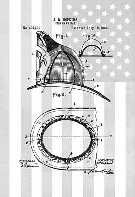 Drawing - Fireman's Helmet Patent by Dan Sproul