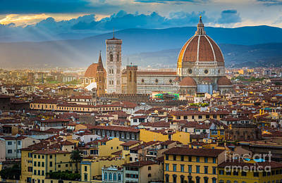 Tuscan Sunset Photograph - Firenze Duomo by Inge Johnsson