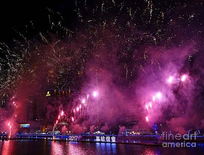 Photograph - Fireworks Along The Love River In Taiwan by Yali Shi